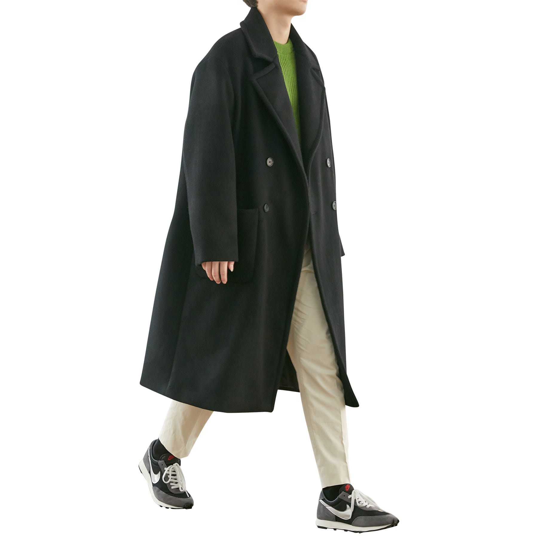 Oversize Maxi Wool Coat _ black
